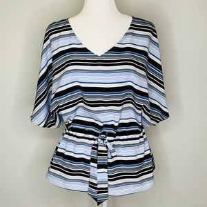 Banana Republic Striped Angel Sleeve Blouse L